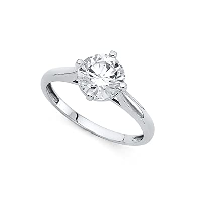 8b2a023b99a16 Amazon.com: 14k Yellow OR White Gold CZ Solitaire Engagement Ring ...