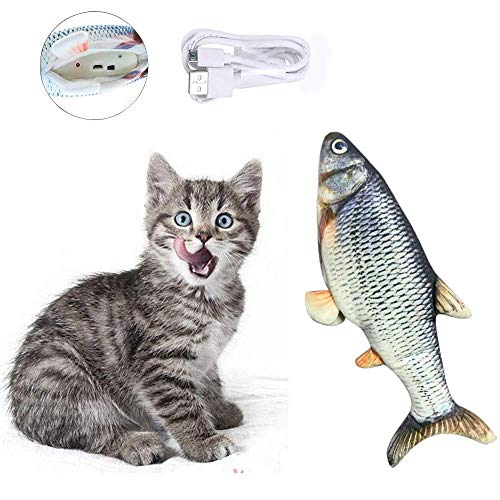 Dragon Honor Realistic Plush Simulation Electric Doll Fish, Funny Interactive Pets Chew Bite Supplies for Cat/Kitty/Kitten Fish Flop Cat Toy Catnip Toys - Perfect for Biting, Chewing and Kicking (A)