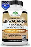 Organic Ashwagandha 1300mg – 100 Vegan Capsules Pure Organic Ashwagandha Root Extract and Powder – Natural Anxiety Relief, Mood Enhancer, Immune & Thyroid Support, Anti Anxiety