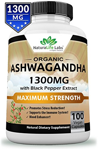 Organic Ashwagandha 1300mg - 100 vegan capsules Pure Organic Ashwagandha root extract and powder - Natural Anxiety Relief, Mood Enhancer, Immune & Thyroid Support, Anti Anxiety