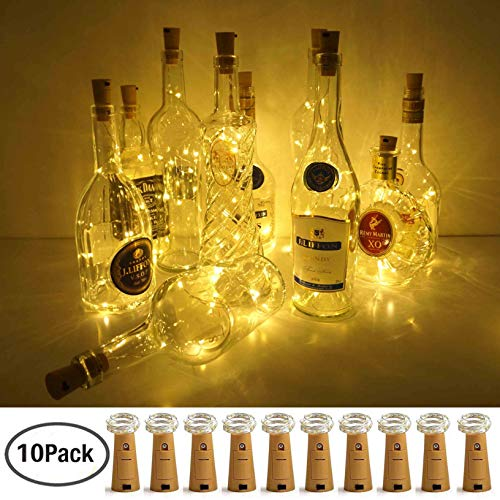 (LoveNite Wine Bottle Lights with Cork, Warm White 10 Pack Battery Operated LED Cork Shape Silver Copper Wire Colorful Fairy Mini String Lights for DIY, Party, Decor, Christmas,)