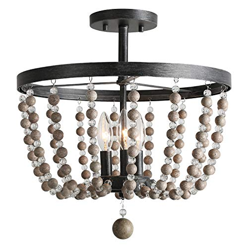 LALUZ 3-Light Beaded Semi Flush Mount Ceiling Light, Distressed Wood Beads, Painted Finish, 16.1  D x 17.3 H