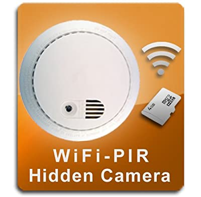 PalmVID WiFi PIR Smoke Detector Hidden Camera Spy Camera with Live Video Viewing by PalmVID Video Cameras