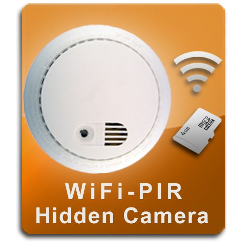 (PalmVID WiFi PIR Smoke Detector Hidden Camera Spy Camera with Live Video Viewing)