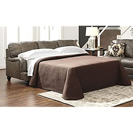 Ashley Kannerdy Collection 8040239 Queen Sofa Sleeper With Leather Upholstery Turned Feet Stitched Detailing Removable Seat Cushions And Contemporary Style In