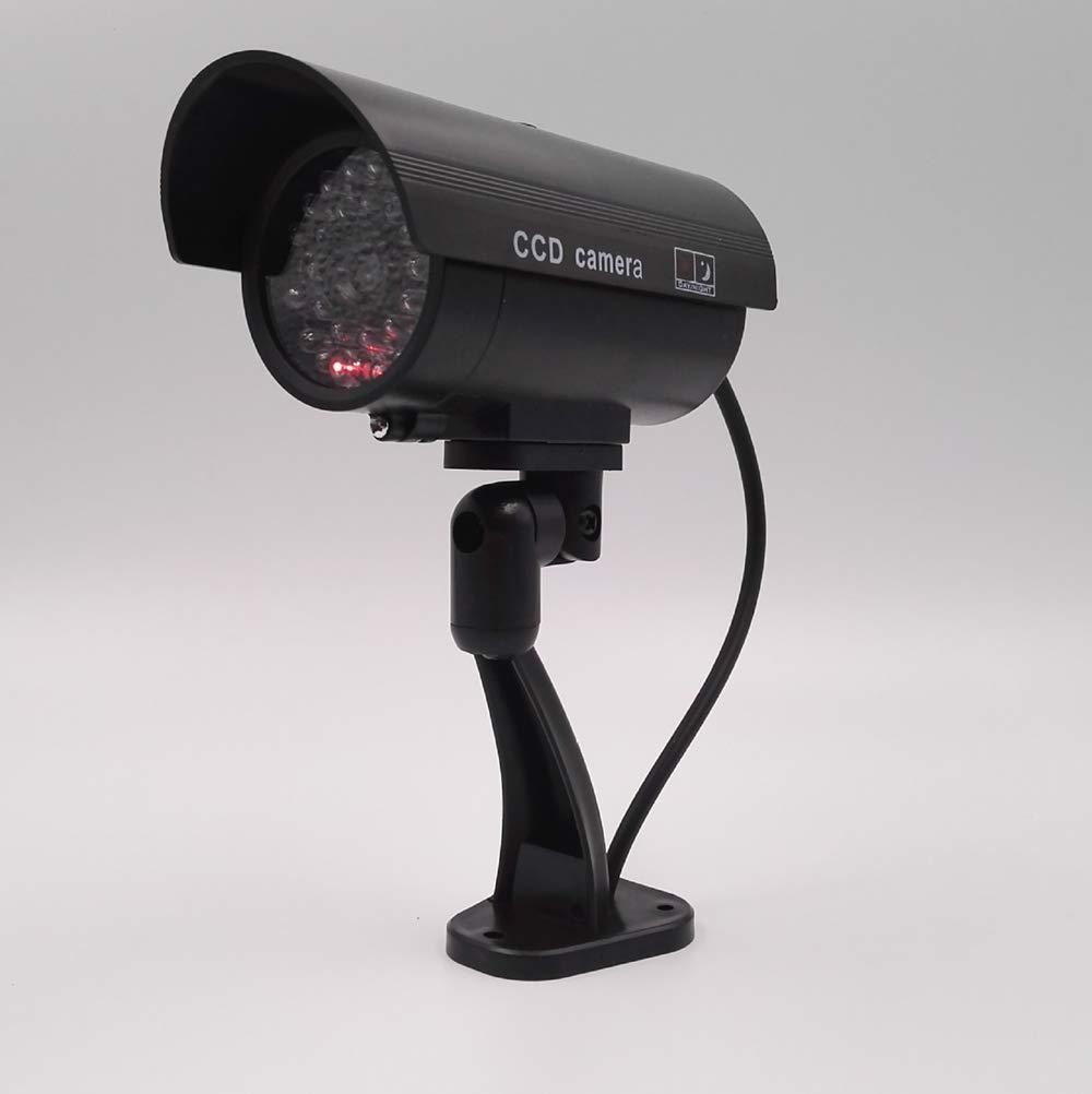 WJT C/ámara simulada Impermeable Bala Intermitente Rojo LED Exterior Falsa de Seguridad C/ámara de simulaci/ón de Seguridad de CCTV de Color Plata,Silver