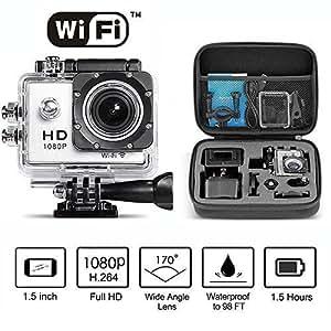 Neewer® 1080P H.264 WIFI Sport Fotocamera con 1.5Inch LCD Display 12MP 170° Grandangolare+HD Obiettivo Action Fotocamera Impermeabile Registratore per Auto DVD Cam Include Accessori (Argento)+Custodia Anti-urto con Manico(Nero)+Chiave Fissa, Funziona con IPhone 4/4s/5/5c/5s/6/6plus/ ipad 1/2/3/4/air/mini/ Samsung Galaxy S5/S4/S3/S2 e tutti gli altri Smart Phone e PC con Sistema iOS 4.0 o Android 7.0
