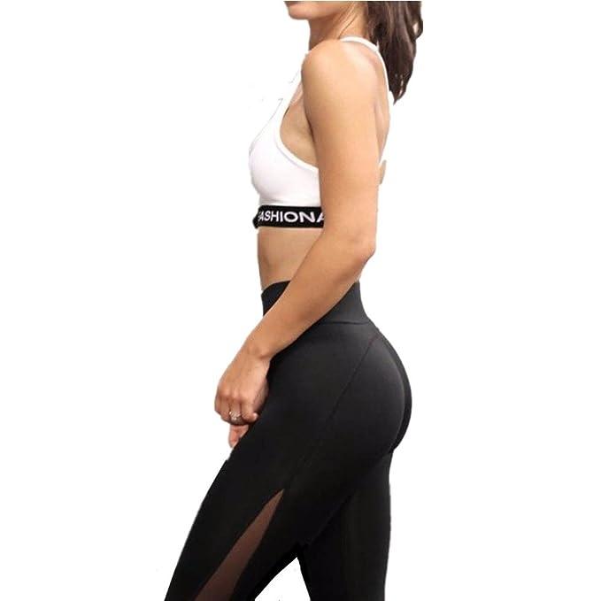 HARRYSTORE Mujer Pantalones elásticos de yoga y flacos de flexiones Polainas de la cintura de malla fitness femenino