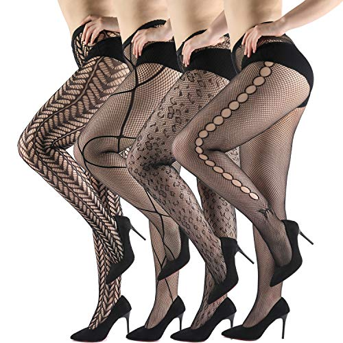 WEANMIX Lace Patterned Tights Fishnet Stockings Pattern Pantyhose 4 Pack