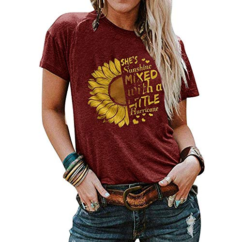 Qianxitang Women's Sunflower Graphic Letter Print Tops Short Sleeve Round Neck Summer Casual T Shirt Blouses Tees (Red, X-Large)