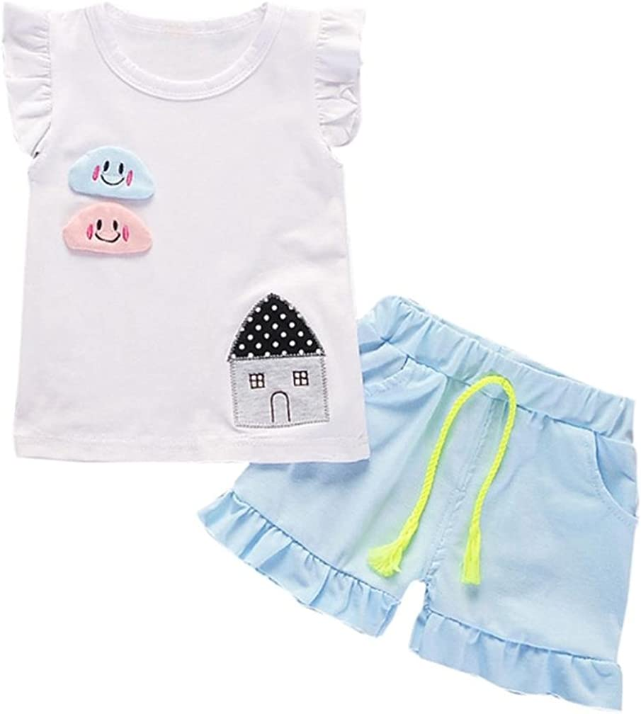 Jchen TM Toddler Kids Baby Girl Outfits Cloud House Print Sleeveless T-Shirt+Shorts Pants Clothes Set for 0-4 Years Old
