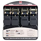 #8: Mann Ratchet Tie Downs Straps with S-hooks 4-Pack Set 1-Inch x 15-Feet 500 Lbs Load Cap - 1500 Lb Break Strength (Black)