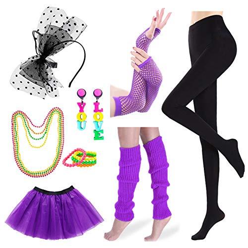 Icevog Womens 80s Costume Set Fancy Disco Party Hip Hop Outfit Black Leggins Tutu Skirt Gloves Leg Warmers Neon Earrings -