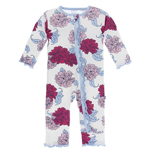 KicKee Pants Little Girls Print Muffin Ruffle Coverall with Zipper - Natural Peony, 12-18 Months