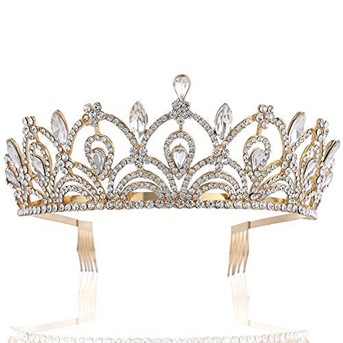 Sppry Women Tiara with Comb - Queen Crystal Crown for Bridal Girls at Wedding Prom Birthday Party, Gold -