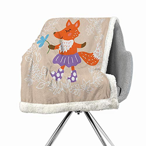 (Khakihome Kids Blanket Small Quilt 60 by 32 Inch Soft Premium Cotton Thermal MulticolorFox with Skirt and Polka Dotted Socks Holding a Flower on a Pastel Toned Background)