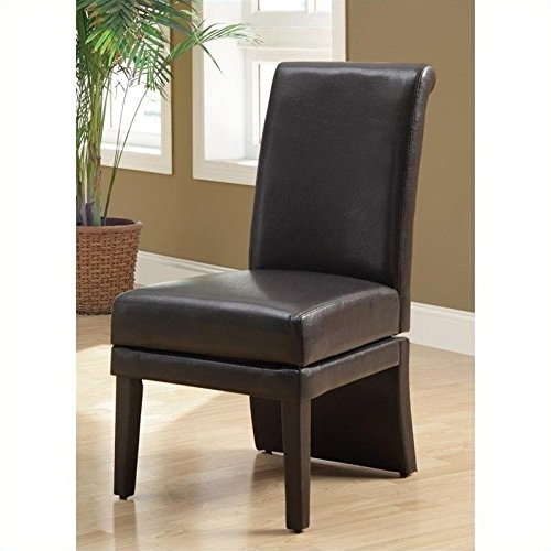 Cedar Looks Dining Chair (Monarch Specialties Leather-Look High Swivel Chair, 41-Inch, Brown, Set of 2)