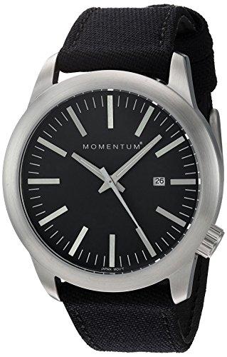 Momentum Men's Quartz Stainless Steel and Canvas Dress Watch, Color:Black (Model: 1M-SP10B6B)