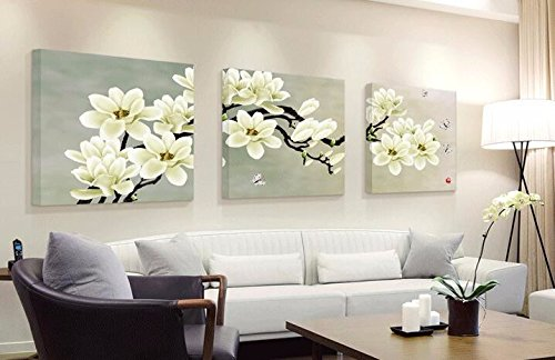 Chakit 3 Panel Modern Abstract Flower Painting On Canvas Wall Art Cuadros Flowers Picture Home Decor For Living Room No Frame(TC6005C40X40cmX3)