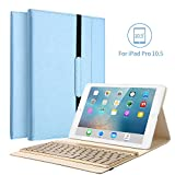 iPad Pro 10.5 Keyboard Case, KVAGO Stylish Protective Case with 7 Colors Back-lit Detachable Wireless Bluetooth Keyboard for Apple iPad Pro 10.5 -Blue