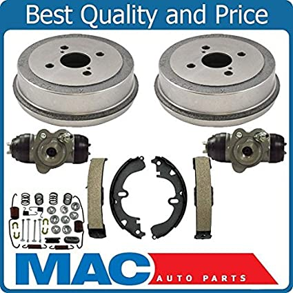 Rear Brake Drums Shoes Spring Kit Wheel Cylinder For Corolla 94-02 Non-ABS