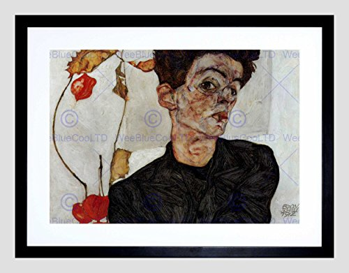 EGON SCHIELE SELF PORTRAIT OLD MASTER BLACK FRAMED ART PRINT PICTURE (Egon Schiele Self Portrait)