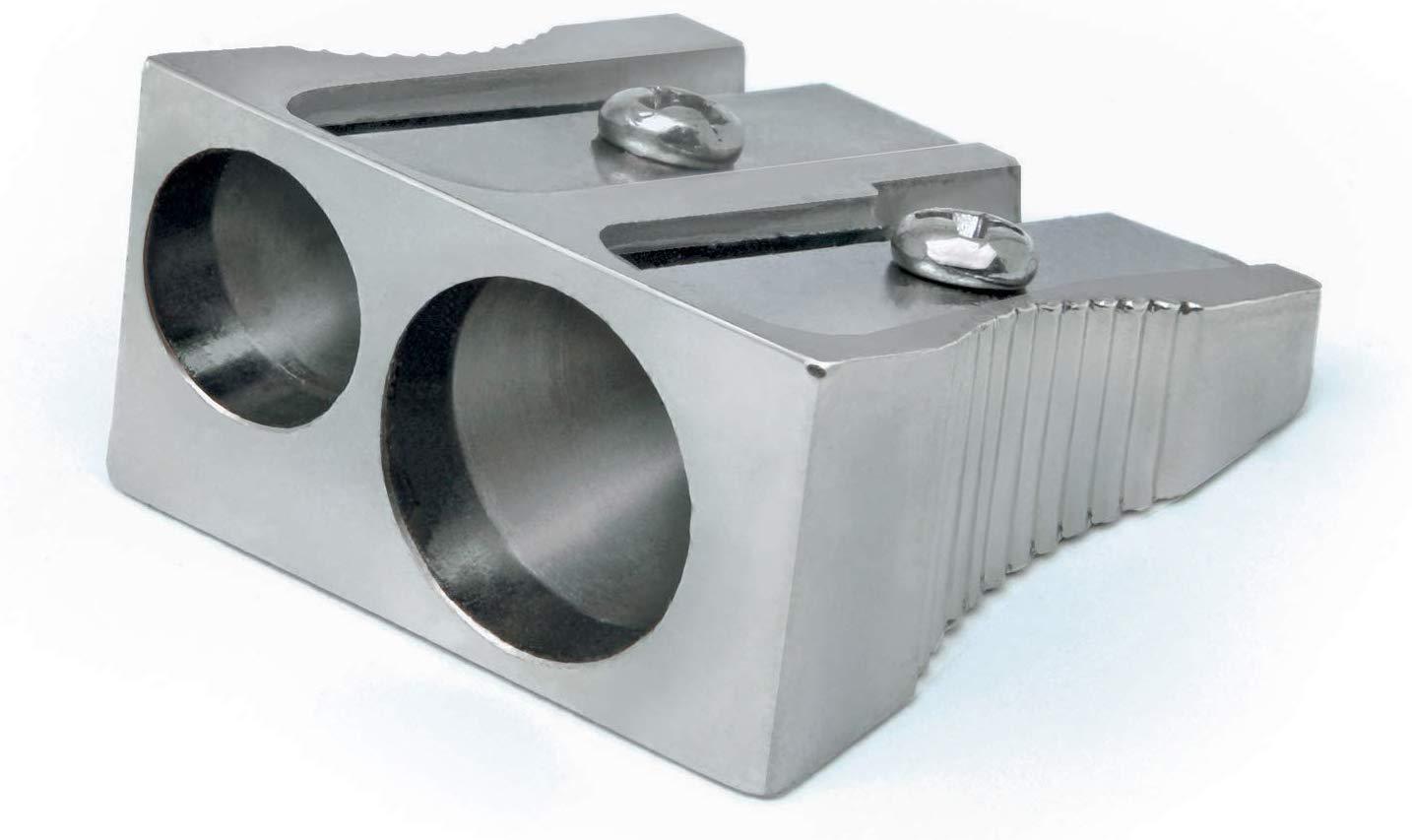 Rapesco R14DCDM2 Pencil Sharpener - Traditional Double Hole Sharpener- Grey