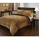 3 Piece King Dark Brown Velvet African Comforter Set, Reversible Comforter, Cheetah Printed Design, Casual Style, Fancy Luxury Bedding, Modern Pattern for Master Bedrooms, Light Black And Golden