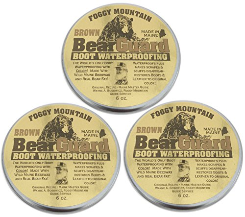 Bridle Brown Footwear - Bear Guard Brown - Boot and Leather Waterproofing with Color - Beeswax and Bear Grease - 3 Pack