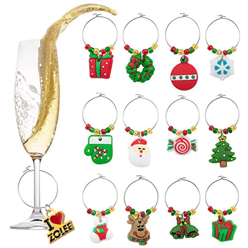 Zolee Christmas Wine Glass Charms Rings, Set of 12 Soft PVC with Simple Buckle Design - Glass Goblet Drink Markers, Great for Party, Wedding, Gathering, Favors Decoration and Supplies (Christmas Trees Design Goblet)