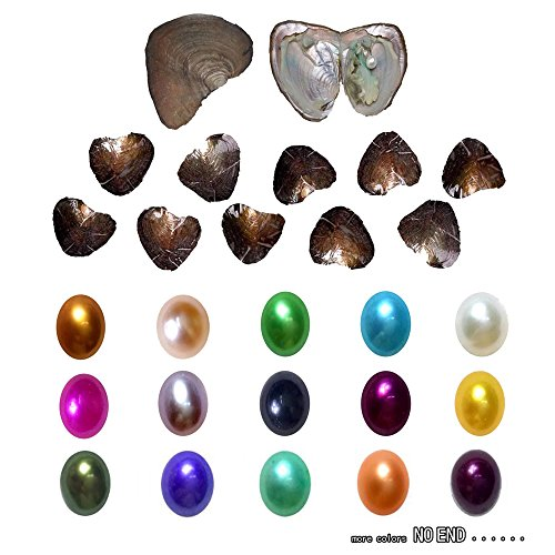 2017 Fashion 7-8mm Oysters with Large Oval Pearl inside Birthday Gifts (Random Color 10 PCS ) (7-8mm)