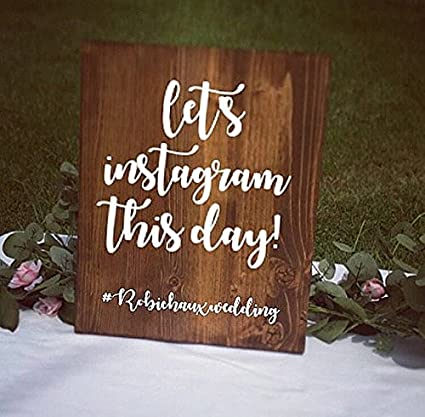 Amazon Onepicebest Dark Walnut Wedding Hashtag Instagram Sign