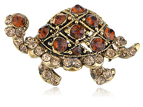(Alilang Golden Tone Topaz Brown Crystal Rhinestone Turtle Tortoise Reptile Pin Brooch)
