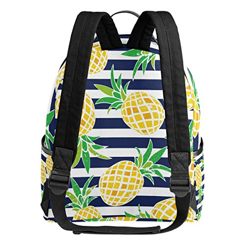 Use4 Striped Pineapple Fruit Retro Polyester Backpack School Travel Bag by ALAZA (Image #2)