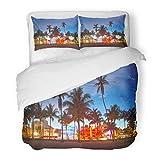 SanChic Duvet Cover Set Miami Beach Florida Hotels Restaurants at Sunset on Ocean Drive World Famous Destination It's Decorative Bedding Set Pillow Sham Twin Size