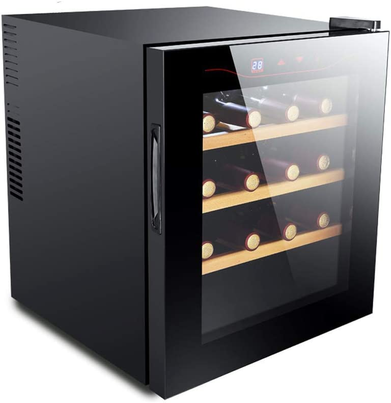 Lnspirational Gifts Decor Accessories Led Wine Cooler Drinks Fridge 16 Bottle Capacity Smart Digital Touch Display Black Glass Low Energy Stainless Steel Thermostat Refrigerator Cigar Cabinet bla