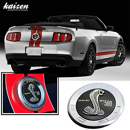"Kaizen Ford Mustang Shelby GT500 Decklid Cobra Rear Emblem Size 5.8"" 2010 2011 2012 Color Black"