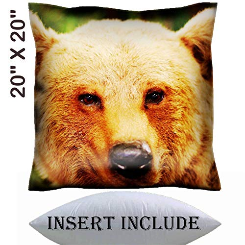20x20 Throw Pillow Cover with Insert - Satin Polyester Pillow Case Decorative Euro Sham Cushion for Couch Bedroom Handmade IMAGE 21433293 cute face of a brown bear in the middle -