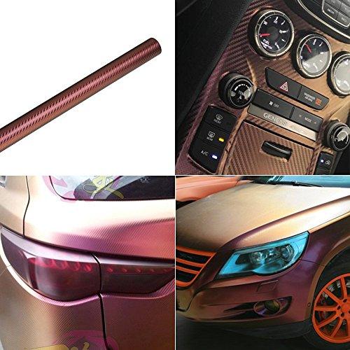 ATMOMO Purple Coppery Car Chameleon Wrap Auto Carbon Fiber Wrapping Film Vehicle Change Color Sticker Tint Vinyl Air Bubble Free (60cm x ()