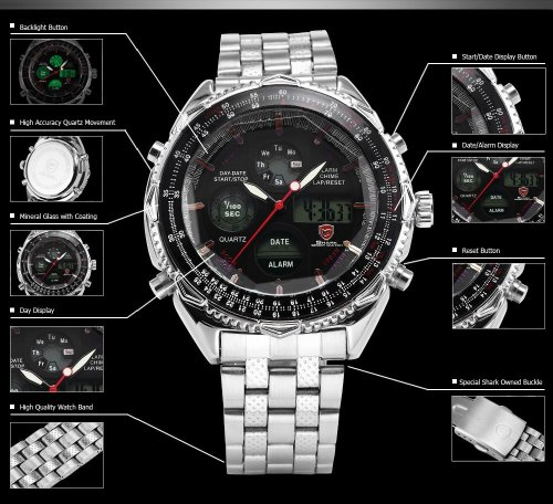 Watches For Men Analog Digital Watch Stainless Steel Day & Date Stopwatch function
