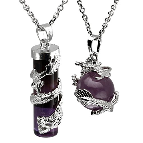 JOVIVI 2pc Dragon Wrapped Natural Amethyst Round Ball Cylinder Gemstone Healing Crystal Pendant Necklace Set