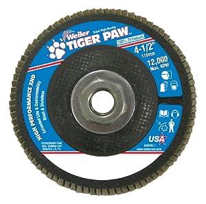 "Weiler 51167 Tiger Paw XHD Super High Density Abrasive Flap Disc, Type 27 Flat Style, Phenolic Backing, Zirconia Alumina, 4-1/2"" Diameter, 5/8""-11 Arbor, 80 Grit, 12000 RPM (Pack of 10)"