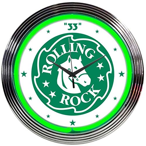 Neonetics Rolling Rock Beer Neon Wall Clock, 15-Inch (Beer Neon Clock)