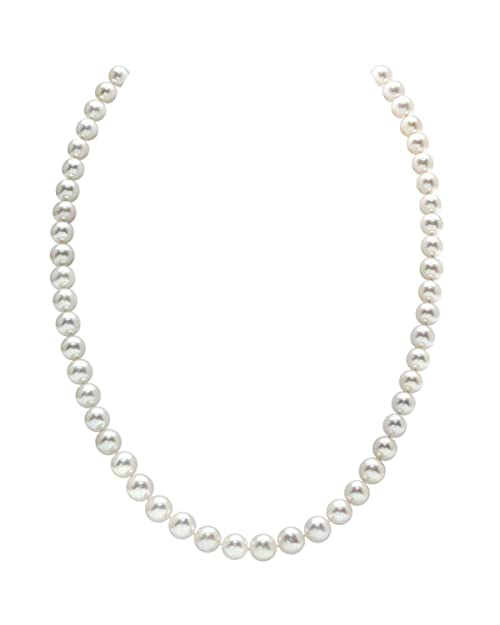 THE PEARL SOURCE 14K Gold AAA Quality Round White Freshwater Cultured Pearl Necklace for Women in 18