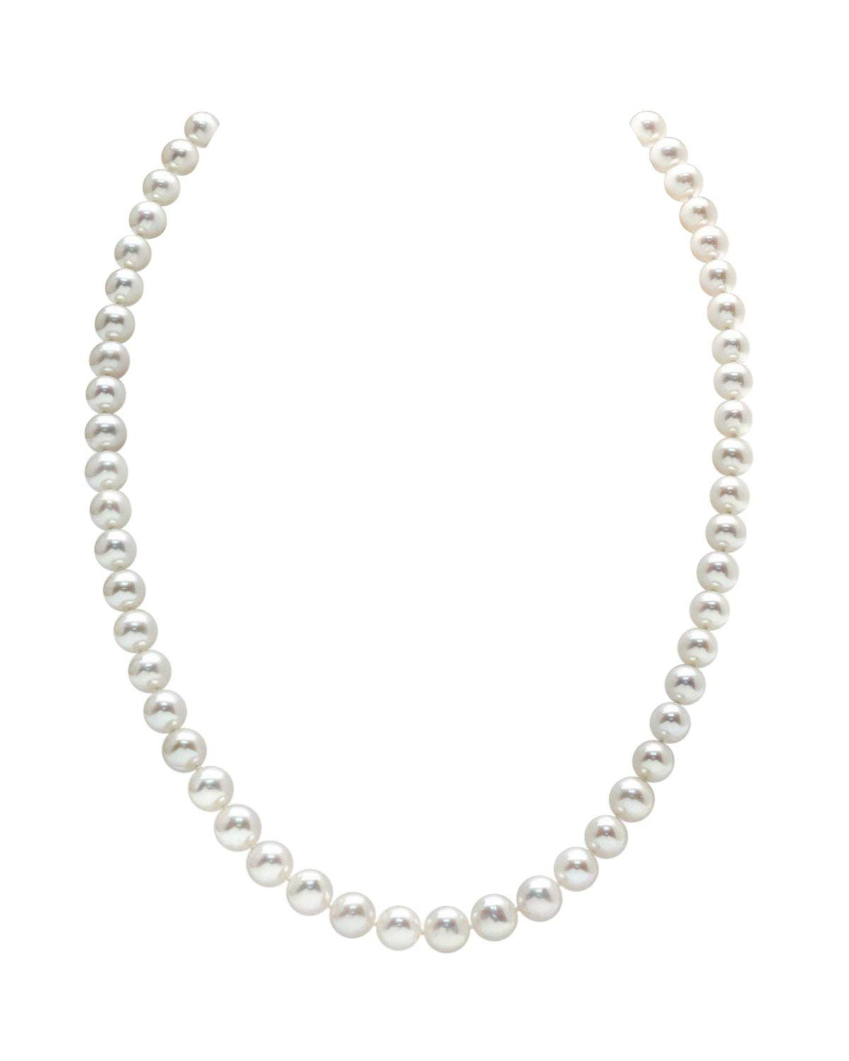 THE PEARL SOURCE 7-8mm AAA Quality Round White Freshwater Cultured Pearl Necklace for Women in 18'' Princess Length