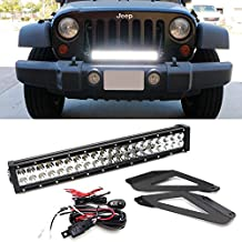 """iJDMTOY 20"""" 120W High Power LED Light Bar w/ Front Bumper Grill Mounting Bracket For 2007-2016 Jeep Wrangler JK (Can Mount Both Upper or Lower)"""