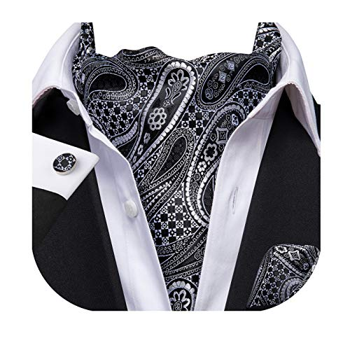 Dubulle Men's Black and Gray Paisley Jacquard Woven Silk Cravat Necktie Scarf Ascot and Pocket Square Cufflinks ()