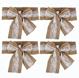 Aokbean 4 PCS Burlap Lace Sash Set Burlap Table Runner Chair Sash Table Sashes Bows Party Decoration for Rustic Wedding Centerpieces and Bridal Showers DIY Crafts 6x108 Inch