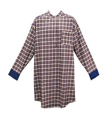 Lee Valley Nightshirt, Genuine Irish Country Flannel Nightshirt, Men's (XXL, SF4 Claret Check)