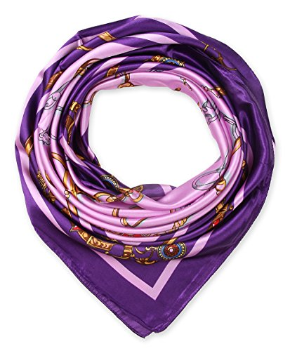 """35"""" Ladies Satin Square Silk Like Hair Scarves and Wraps Headscarf for Sleeping Purple Pink Chains Pattern"""